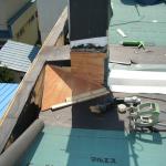 煙突補強、小屋根、新規作成、勾配変更